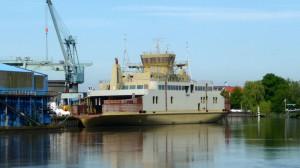 Bau einer neuen Fähre in der Sietas Werft
