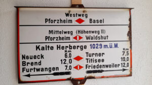 E1-075 (Kalte Herberge – Bankenhansenkreuz, Titisee) 23km laut GPS auf dem E1, 2 Caches gehoben